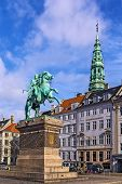 picture of copenhagen  - The equestrian statue of Absalon was designed by Vilhelm Bissen on Hojbro Square in Copenhagen - JPG