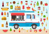pic of food truck  - Flat design style modern vector illustration icons set of wagon full of tasty summer food - JPG