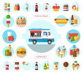 stock photo of ice-cream truck  - Flat design style modern vector illustration icons set of wagon full of tasty summer food - JPG
