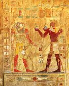 picture of horus  - ancient egypt color images on wall in luxor - JPG