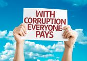 picture of corrupt  - With Corruption Everyone Pays card with sky background - JPG