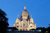 foto of moulin rouge  - Sacre Coeur Basilica in night Paris France - JPG