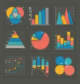 image of dots  - Set of colored vector business graphs in various designs showing a pyramid - JPG