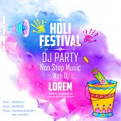 image of colorful banner  - illustration of DJ party banner for Holi celebration - JPG