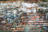 picture of deformed  - Old Deformed Brick Wall for using as background or texture. ** Note: Soft Focus at 100%, best at smaller sizes - JPG