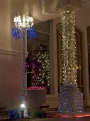 Christmas Decorated Column and Lamppost