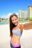stock photo of selfie  - Fitness selfie woman self portrait after workout - JPG