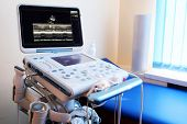stock photo of ultrasound machine  - Interior of hospital room with ultrasound machine  - JPG