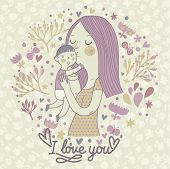 foto of i love you mom  - Cute retro vector card with mother and child - JPG