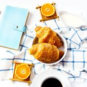 Постер, плакат: Fresh Baked Tasty Croissant For Breakfast