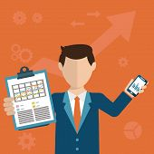 stock photo of tasks  - Businessman with a task showing task and analytic flat modern design - JPG
