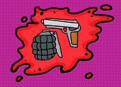 image of pistols  - Hand grenade and pistol in blood over purple - JPG