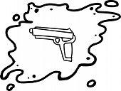 foto of handgun  - Outlined single cartoon handgun in splattered blood - JPG