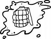 foto of grenades  - Single hand drawn cartoon grenade in outline - JPG
