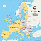 stock photo of political map  - Eurozone countries map with national borders - JPG