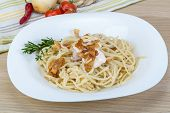 picture of carbonara  - Pasta carbonara with sauce and bacon served thyme - JPG