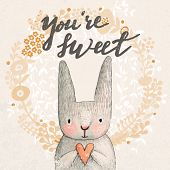 pic of pastel  - Marvelous card with sweet rabbit holding heart - JPG