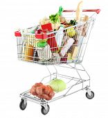 stock photo of grocery cart  - Shopping cart full with various groceries isolated on white  - JPG
