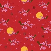 pic of sakura  - Spring seamless pattern blooming sakura on the red background - JPG