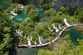 picture of crystal clear  - Beautiful lakes and rivers with crystal clear water in Plitvice Lakes National Park - JPG