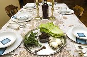 picture of seder  - Passover Seder table with blessings set for the Jewish holiday of Passover - JPG