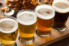 picture of draft  - Assorted Beers in a Flight Ready for Tasting - JPG