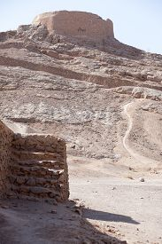 picture of zoroastrianism  - tower of silence Yazd Zoroastrian tradition considered a dead body to be nasu unclean - JPG