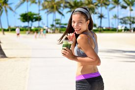 picture of cleanse  - Green detox cleanse vegetable smoothie woman - JPG