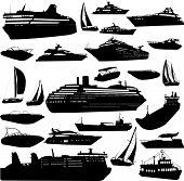 collection of sea tranportation vector
