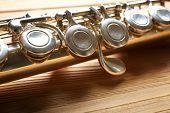 foto of flute  - Flute on wooden background - JPG