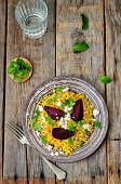 picture of millet  - spiced millet porridge with beetroot coriander mint and feta - JPG