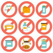 pic of milk products  - Set of modern flat icons with products containing lactose - JPG