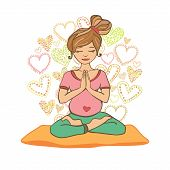stock photo of yoga mat  - Vector illustration of a pretty pregnant woman doing yoga on a yoga mat - JPG