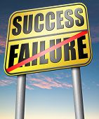 stock photo of risk  - success versus failure road or key to be successful or to fail choose direction make important and crucial decision take a risk - JPG