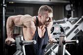 foto of dipping  - Bodybuilder man in gym doing dips as arm training  - JPG