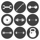 stock photo of weight lifter  - Set of sign weights for fitness or gym icons - JPG