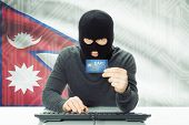 foto of cybercrime  - Cybercrime concept with flag on background  - JPG