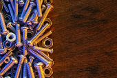 image of bolt  - Nuts and bolts background - JPG