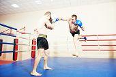 picture of muay thai  - muai thai sportsman fighting at training boxing ring - JPG