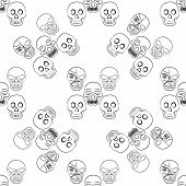 image of day dead skull  - Day of the Dead Sugar Skull Seamless pattern - JPG
