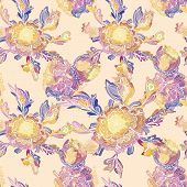 stock photo of interior sketch  - Seamless blue background with sketch flowers and watercolor effect for textile - JPG