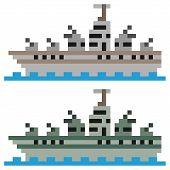 stock photo of battleship  - illustration vector isolate icon pixel art battleship - JPG