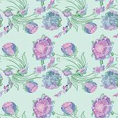 foto of mint-green  - Seamless colorful elegant romantic print with purple outline sketch flowers on mint green background - JPG