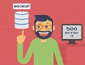 stock photo of programmers  - Happy programmer has got server backup after system crash - JPG