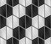pic of zigzag  - Design seamless monochrome hexagon geometric pattern - JPG