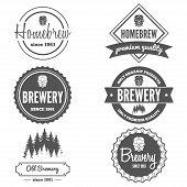 foto of brew  - Set of vintage logo or logotype elements for beer - JPG
