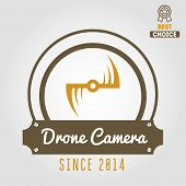 Logo, label, emblem or logotype for drone and flying camera poster