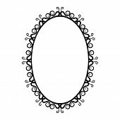 picture of oval  - black and white vintage oval frame on a white background - JPG