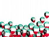 image of kuwait  - Flying balloons with flag of kuwait isolated on white - JPG