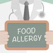 stock photo of allergies  - minimalistic illustration of a doctor holding a blackboard with Food Allergy text - JPG